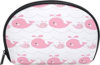 ALAZA Pink Whale Half Moon Cosmetic Makeup Toiletry Bag Pouch Travel Handy Purse Organizer Bag for Women Girls