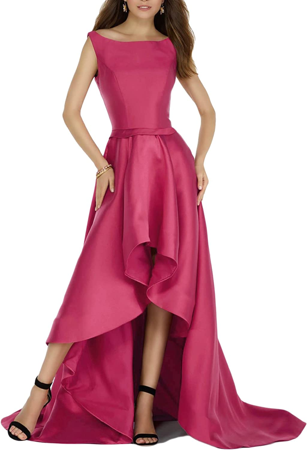 YSMei Womes High Low Boat Neck Prom Dress Backless Wedding Evening Dress YPM413A