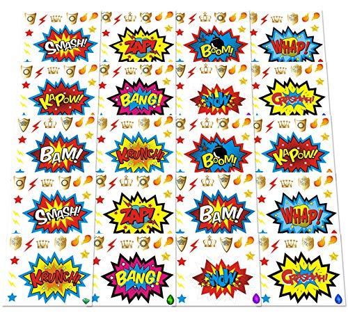 ADJOY Large Superhero Party Stickers - Superhero Sign Cutout Stickers - Superhero Party Supplies - 20 Sets