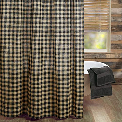 VHC Brands Burlap Black Check Shower Curtain 72x72 Country Rustic Primitive Design, Black and Tan