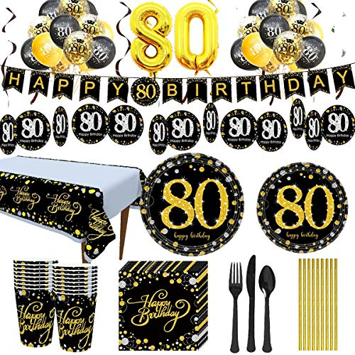 80th Birthday Party Supply Pack for 24 Guests
