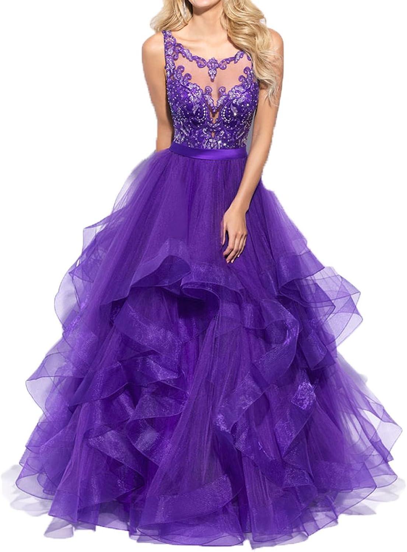 Ellenhouse Women's Long Applique Beaded Tulle Evening Party Prom Dresses EL302