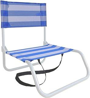 LOLAhome Silla de Playa Baja Plegable Azul y Blanca de textileno de 53x44x44 cm