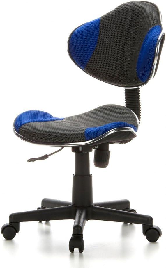 hjh OFFICE 634120 Kinder Schreibtischstuhl KIDDY GTI-2 Stoff Schwarz/Grau ergonomischer Jugenddrehstuhl höhenverstellbar Grau / Blau