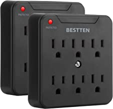 [2 Pack] BESTTEN 900-Joule Wall Outlet Surge Protector, 6-Outlet Extender with Mounting Screw for Duplex Receptacle, ETL Listed, Black