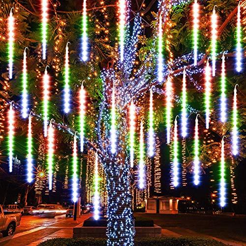 Achort Shower Rain Lights 50CM 8 Waterproof Spiral Tubes Meteor Lights, 288 LEDs Falling Rain Lights Suitable for Christmas Wedding Party Outdoor Garden House Window Decor, Color