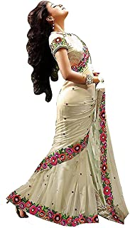Vinayak Textile Women's Off-White Georgette Saree With Free Size Blouse Piece Material
