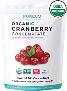 USDA Organic Cranberry Concentrate (50:1) Powder - 500mg is Equivalent to 25,000mg of Fresh Cranberries - For Kidney Cleanse & UTI Support Vitamins - Fruit Extract Supplement - 100 Servings - No Pills