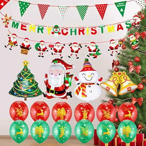 TOYANDONA Decoración navideña látex Santa Claus globo pancarta para el restaurante de la Oficina de la familia