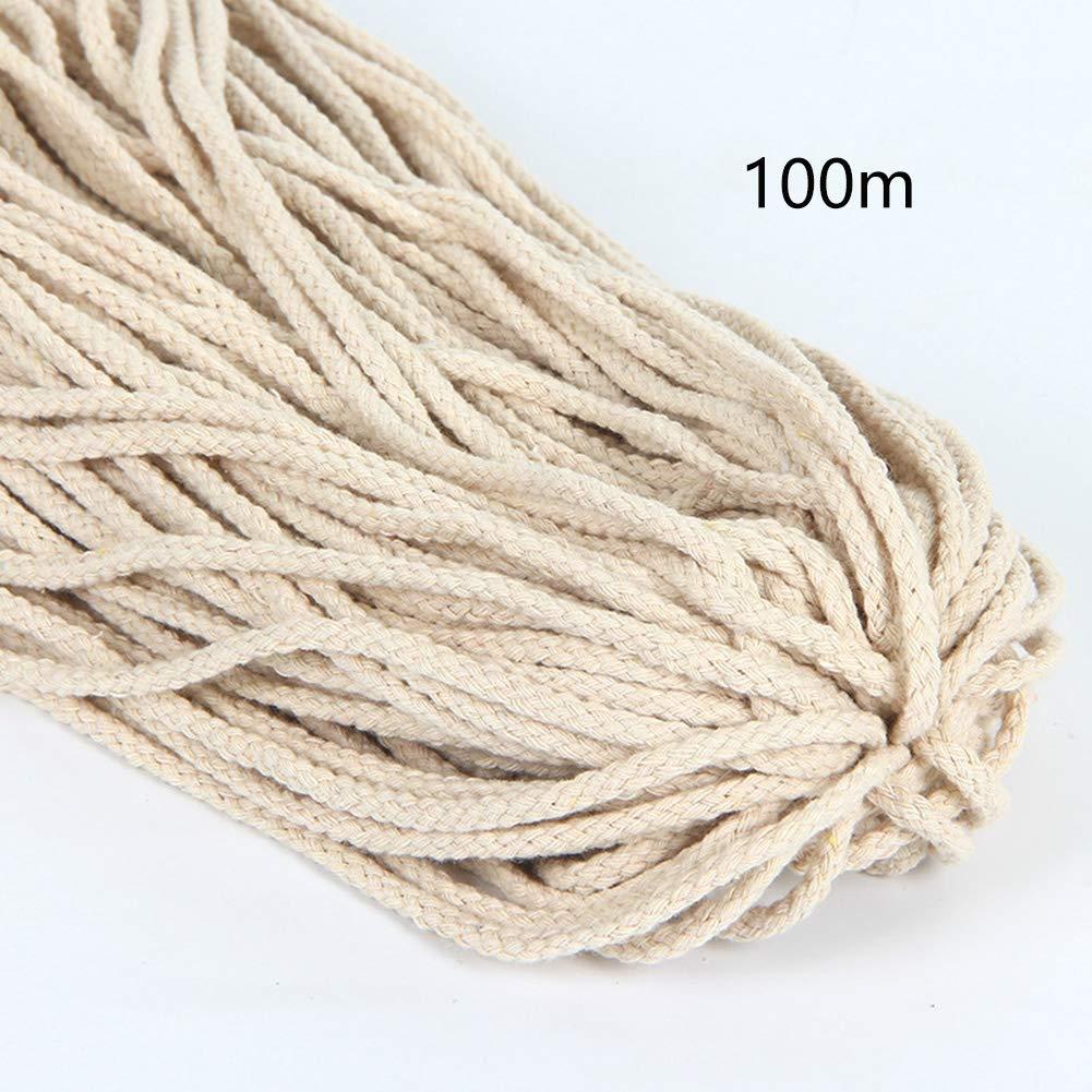 Lionina - Cordón para macramé, Cuerda de macramé, 5 mm x 100 m, cordón de algodón, Cuerda Trenzada para Hanging Planta DIY decoración, Beige, Talla Abierta: Amazon.es: Hogar