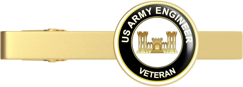 HOF Trading Gold U.S. Army Veteran Army Engineer Gold Tie Clip Tie Bar Veteran Gift