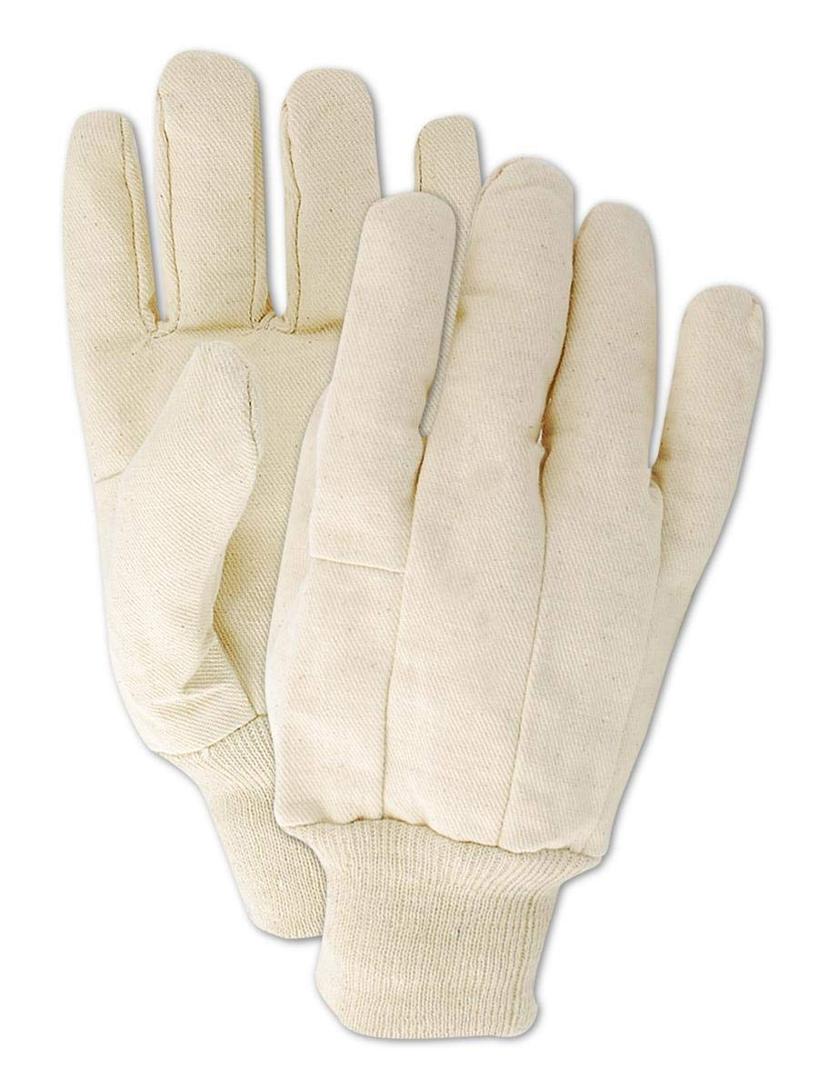 MAGID T83J MultiMaster T83 8 oz. Clute Pattern Cotton Canvas Gloves, Jumbo, White (12 Pair)