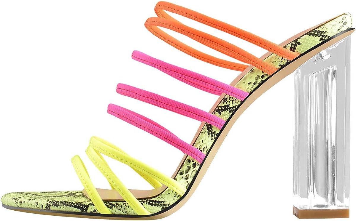 Yolkomo Women's Strappy Slip On Clear Square Chunky Heel Slide Mule Sandals