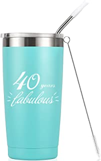40 Years Fabulous - 40th Birthday Gifts For Women Men - 20 Oz Insulated Stainless Steel Tumbler with Lid, Funny Turning 40 Gift Idea for Women Her Mom Wife Sister Aunt Bestie Friend Ladies Gift
