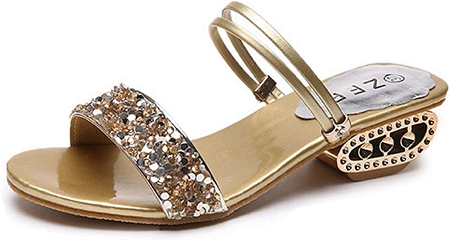 GIY Women Comfy Low Block Heel Mules Slip on Sandals Rhinestone Open Toe Dress Pumps Slide shoes