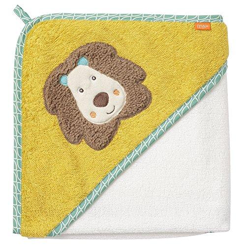 Fehn 066258 Kapuzenbadetuch Löwe / Bade-Poncho aus Baumwolle mit Löwen Motiv für Babys und Kleinkinder ab 0+ Monaten / Maße: 80x80cm