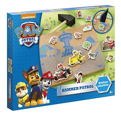Paw Patrol – Hammer Patrol Bastel-Set: Korkplatte mit Szenenvordruck, verschiedenen Formen, Nägel und Holzhammer