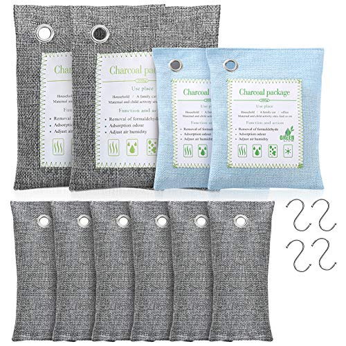 1Easylife Bamboo Charcoal Air Purifying Bags 10 Pack 2x500g, 2x200g,6x50g, 4 Hooks, Large Capacity Natural Removes Odors Bags for Closet, Car, Pets Area