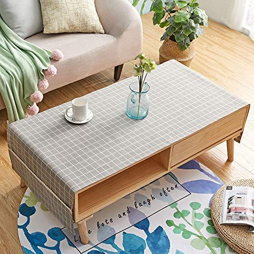 Jstoo Mantel para Mesa Paño De Tabla Hule Mesa De Centro Rectangular con Mueble De Salón-Cuadrado Marrón_Los 60 * 160Cm