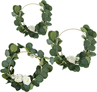 Caydo 3 Pieces Floral Hoop Wreath Set of Artificial Roses and Eucalyptus Vine Wreath for Home and Wedding Party Backdrop Decoration