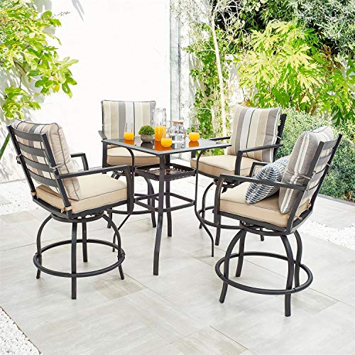 PatioFestival Outdoor Height Bistro Chairs Set Patio Swivel Bar Stools with 4 Yard Armrest Chairs and 1 Glass Top Table, All Weather Steel Frame Furniture for Lawn, Deck, Backyard and Pool