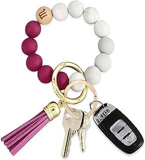 Coolcos 12 Constellation Zodiac Car Key Ring Bracelet, Silicone Beaded Keychain Wristlet for Women Valentine's Day w/Gift Box