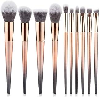 Professional Fantasy Make up Brush Set Foundation Blending Blush Concealer Eye Shadow Face Liquid Powder Cream 10pcs Make-Up Tools (Color : Gold, Size : Free)
