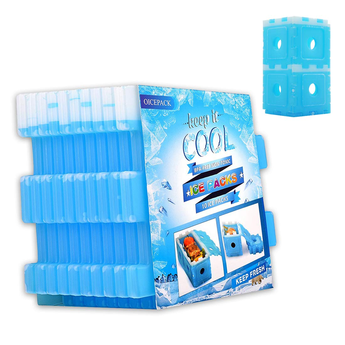 Lightweight Freezer Cold Packs For Coolers Slim Stay Cool Reusable Ice Pack for Lunch Box Lunch Boxes /& Camping 6 Pack