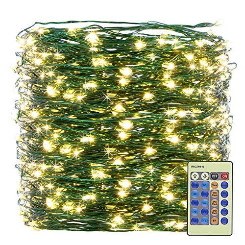 XUNXMAS 300LED Warm White Christmas String Lights 99ft Green Wire Dimmable with Remote Control, UL Certified Waterproof Fairy Lights for DIY Christmas Tree Bedroom Patio Party Indoor Outdoor Decor