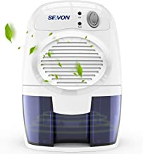 SEAVON Electric Mini Dehumidifier, 1500 Cubic Feet (156 sq ft) Portable and Compact 500ml(16 oz) Capacity Quiet Mini Dehumidifiers for Basement, Bedroom, Bathroom, RV, Closet, Auto Shut Off