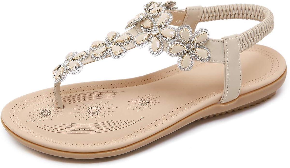 CARETOO Ladies Bohemia Flat Sandals, Women Summer Beach T-Strap