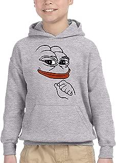 Pepe Meme Frog Kids Boys Girls Trendy Long Sleeve Hoodie Sweatshirt Black