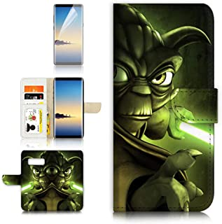 (for Samsung Note 8, Galaxy Note 8) Flip Wallet Case Cover & Screen Protector Bundle - A21630 Starwars Yoda