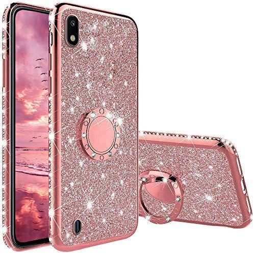 XTCASE Cover Glitter per Samsung Galaxy A10, Custodia Brillantini Diamanti con Supporto Girevole a 360 Gradi, Ultra Sottile Morbid TPU Silicone Antiurto Protettiva Case, Rosa