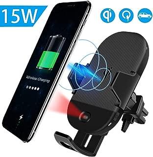 Qi 車載 ワイヤレス充電器 qi車載 ホルダー 15W/10W 急速ワイヤレス充電器車載スマホホルダー 360度回転 粘着式&吹き出し口2種類取り付 iPhone X/XR/XS/XSMAX/8/8 Plus/Galaxy S9/S8/S8 Plus/S7/S7 Edge/S6/S6 Edge/Note 8/Note 5/Nexus 5/6等に適用ワイヤレス充電機種に対応 (黒#2019)