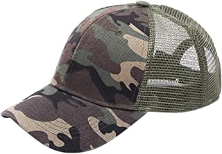 Ponytail Messy Buns Trucker Plain Mesh Baseball Visor Cap Dad Hat