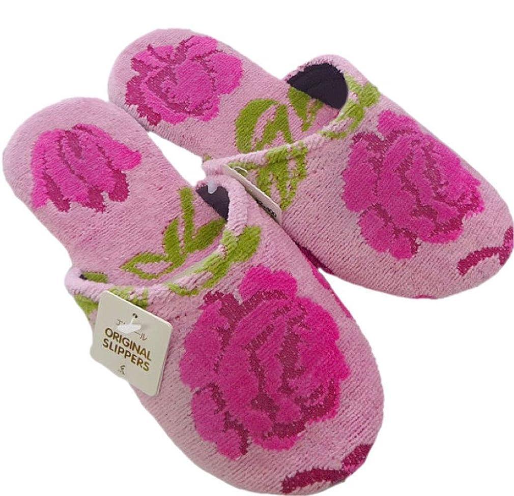 逸話農場信じられない【ピンク】 素足でも気持ち良い大胆な薔薇模様が華やかな、大人可愛い『スリッパ』新エチュードソフト 軽くて洗える/ルームシューズ レディース 女性 婦人用 室内用 綿 エトワール