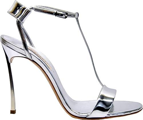 Casadei 1L245M100MBARB016 Damen Silber Leder Sandalen