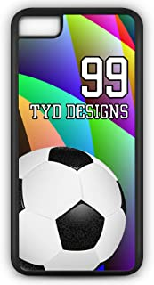 iPhone 6s Plus Soccer Case Fits iPhone 6s Plus or iPhone 6 Plus Design Your Own Design Tough Cell Phone Case with Any Jersey Number Team Name in Black Rubber Black Plastic SC1095 by TYD Designs