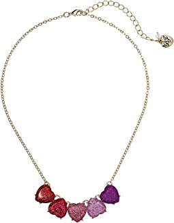 Gold Tone Sparkle Heart Necklace