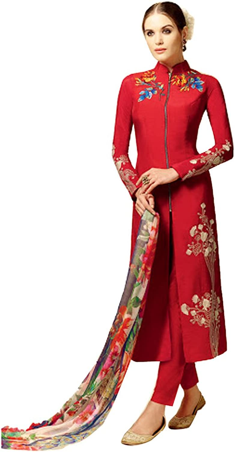 BOLLYWOOD PARTY WEAR BRIDAL WEDDING STRAIGHT SALWAR KAMEEZ SUIT FOR WOMEN WEAR_4654