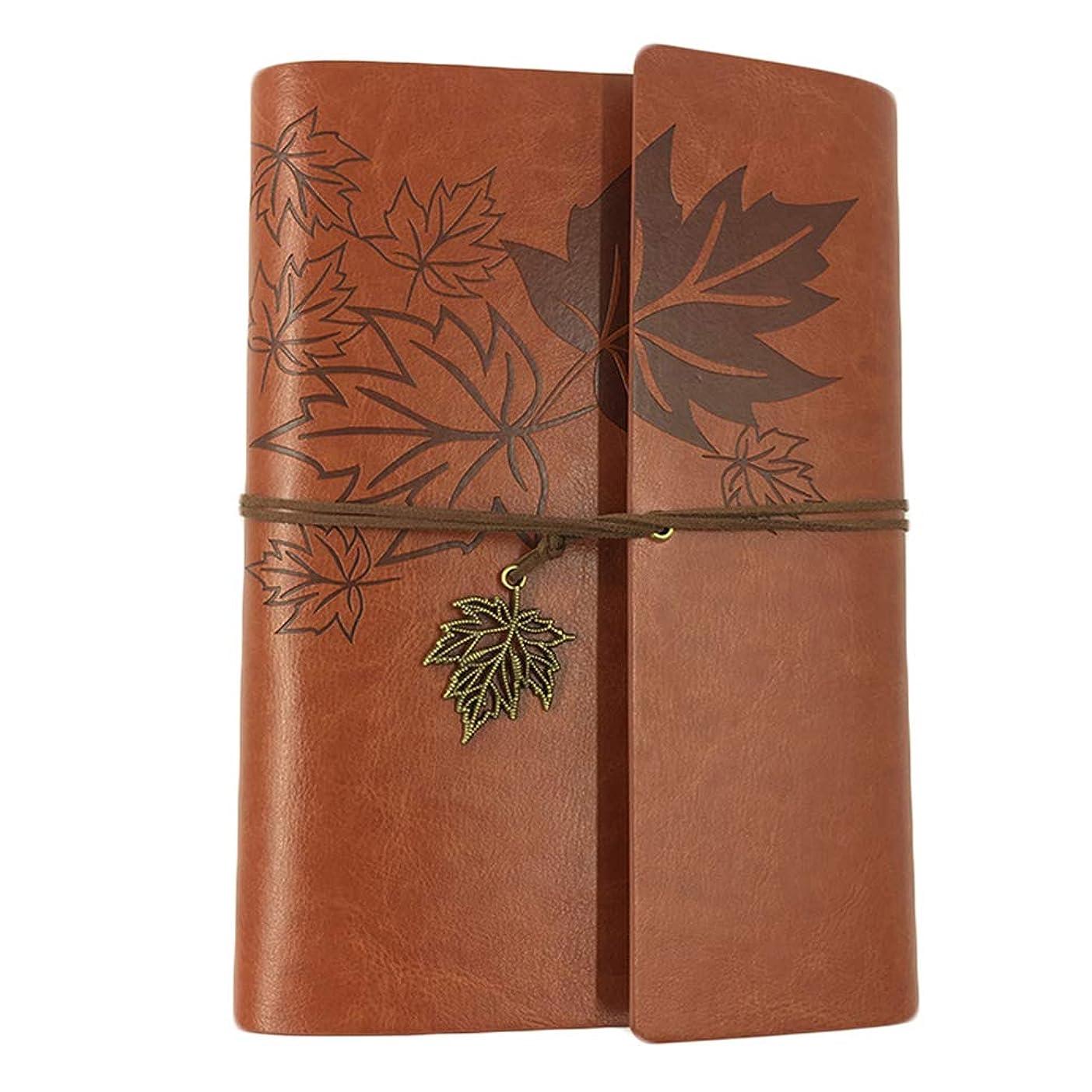 YeahiBaby Vintage Refillable Notebook PUレザージャーナルライティングノートA6バウンドデイリーメモ帳(ブラウン)