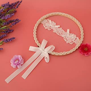 Lace Embroidered Wooden Hoop Ring Pillow Wedding Ring Display Cushion |Color - B|