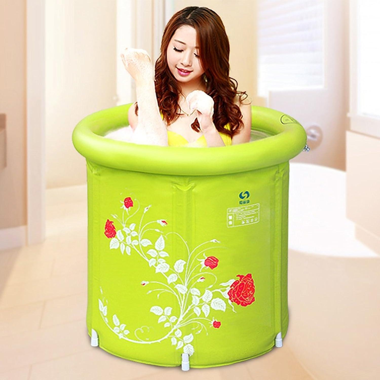 FJXLZ? Inflatable bathtub, fold plastic Thicker Bathtub bluee, green, pink 58  65 cm, 65  70 cm, 70  70 cm, 75 x 75 cm Thicker insulation Collapsible Bathtub (color    5)