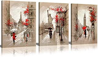 CANVASZON Paris Decor Canvas Prints Paris Street Painting Eiffel Tower Oil Painting Romantic Couple Walking in Rain New York Wall Art for Living Room Decoration