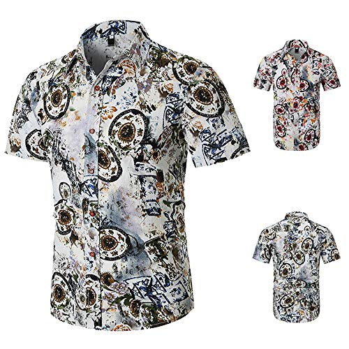ZZOU Men's Flower Casual Button Down Short Sleeve Hawaiian Beach Shirt Mens Short Sleeve Shirt Floral Classic Shirt Print Casual Short Sleeve Polo T-Shirt African Ethnic Style Slim Tee Tops