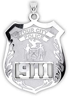 custom police badge necklace