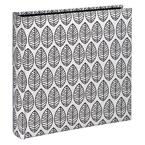 Hama Fotoalbum La Fleur (Jumbo Album mit 100 schwarzen Seiten, für 400 Fotos im Format 10x15, Blätter-Muster, 30x30) XXL Fotobuch weiß