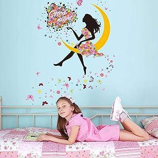 Lovely Flower Girl with Umbrella Removable Vinyl DIY Wall Art Mural Sticker Decal Decor for Bedroom