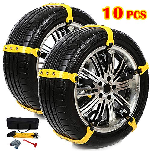 BESAZW Snow Chain for Car/SUV/Light Truck Tire Snow Chains Snow Straps for Trucks Anti Slip Commercial Truck Accessories 10 Pcs [2019 New Version]